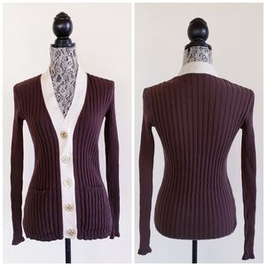 TORY BURCH Ribbed Knit Cardigan Size Medium